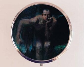 Lucifer Pill Box Case Pillbox Holder Trinket Stash Box Franz Von Stuck Fine Dark Art Painting