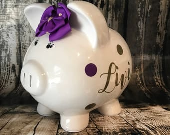 LARGE Personalized piggy bank with gold and purple Polka dots,girl bank, birthday banks, custom piggy banks, baby's first piggy bank