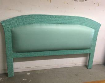 Coastal Blue Wicker Upholstered King Headboard