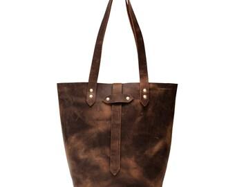 Leather Tote Bag, Handmade Tote, Shoulder Bag, Handmade in USA, Foil Monogram