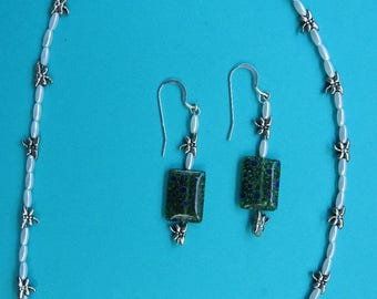 Green Dichroic Glass Necklace and Earring Set