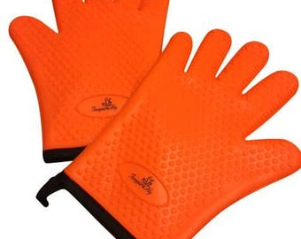 Silicone Cooking Gloves - Heat Resistant Oven Mitts -Grilling Gloves, BBQ, Kitchen Gloves - Pots and Pans Mitts