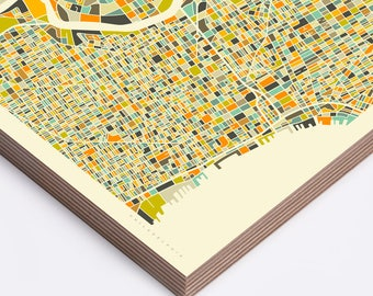 PHILADELPHIA MAP (Ready to Hang, Birch Wood Print for your Home Décor)