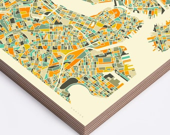 BOSTON MAP (Ready to Hang, Birch Wood Print for your Home Décor)