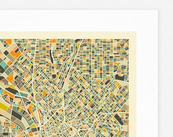 DALLAS MAP (Giclée Fine Art Print, Photographic Print or Poster Print) by Jazzberry Blue