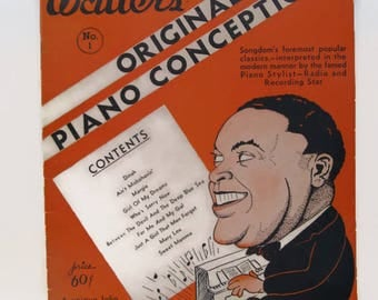 vintage sheet music book Fats Waller's Piano Conceptions Vol.1 1930's