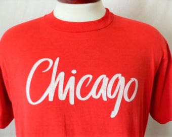 vintage 80's 90's Chicago Illinois red graphic t-shirt white logo print crew neck tee tourist travel souvenir screen stars best oversize XL