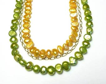 multi strand yellow and lime green freshwater pearl necklace statement bib necklace multistrand beaded necklace triple strand jewelry