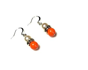 coral white Swarovski crystal pearl rhinestone silver rondelle earrings hypoallergenic earrings nickel free earrings dangle beaded jewelry