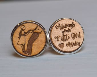 father of the bride gift, always your little girl cuff link, tie tack, lapel pin, first father daughter dance