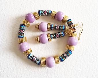 Parure Ethnique - Douce Afrique - Bracelet et Boucles d'Oreilles - Perles Céramique, Métal doré - Bijoux créateur, fait-main, pièce unique