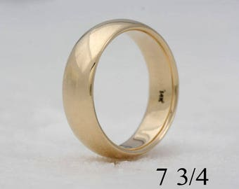 14k yellow gold wedding band,size 7 3/4 or custom sizes,  #151.