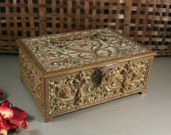 Antique Art Nouveau Bronze Casket Box Reliquary Sarcophagus Treasury