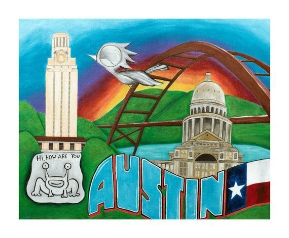 Austin Texas Art Print - Dream Bird Art, 8x10, 11x14, 16x20 Giclee Print, Limited Edition, Austin Art, Greetings From Austin, Texas Capitol