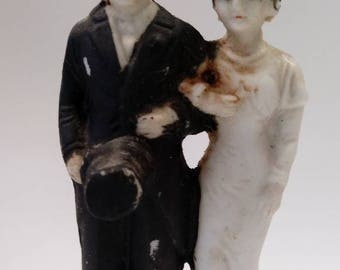 Antique Bride and Groom Cake Topper Wedding
