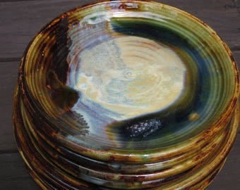 Set of 8 Handmade Ceramic Plates