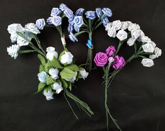 45+ Blue/Gray/Purple Ribbon Roses Wire Stems Two Sizes