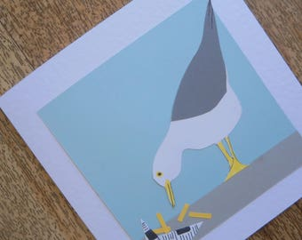 Seagull with a chip. Individually handmade seaside greetings card.Suitable for any occasion