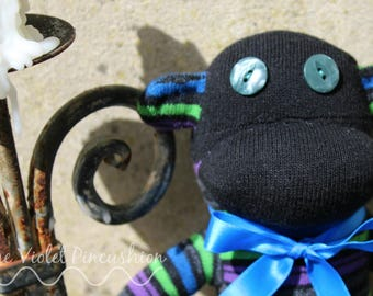 Extra Large Black, Green, Purple and Blue Stripey Sock Monkey