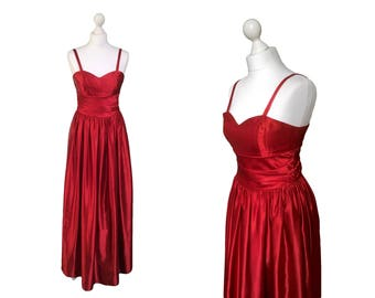 Red Satin Dress By Trina Lewis And Marjon Couture | Vintage Evening Dress | Red Party Dress / Red Satin Evening Gown