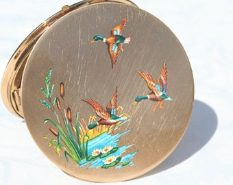 1950s Stunning Unused Condition Vintage Stratton Compact Mirror with Flying Mallard Ducks