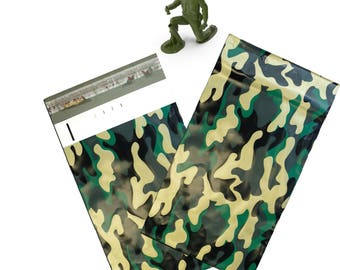 "6x9"" (100, 200, 300) Camouflage Flat Poly Mailers, Self Sealing Flat Envelope Mailers, Business Mailer Camo Design Printed Shipping Bags"