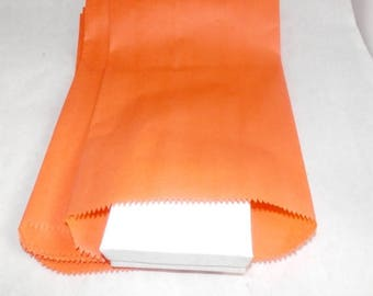 On Sale 100 6x9 Orange Paper Merchandise Bags, Party Bags,Favor Bags, Gift Bags,  Weddings,Colored Bags, Birthday Craft Bags