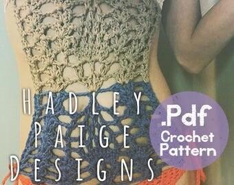 Monokini Crochet Pattern - Women's XS/0 by Hadley Paige Designs. Boho swimwear.  Summer wear.
