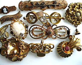 Victorian Brooch Lot, Doll Infant Jewelry, Goldfilled Antique Bar Brooches, Watch Pins, Shell Cameo, Edwardian Petite Beauty Pins, Lot of 11