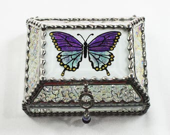 Etched Hand Painted Glass Jewelry Box Hand crafted