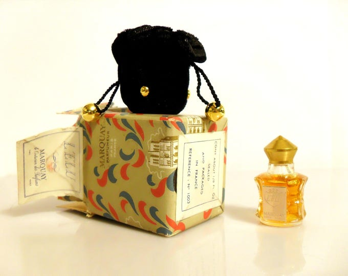 Vintage Perfume 1940s L'Elu by Marquay 1/8 oz Pure Parfum in Velvet Pouch with Box Miniature Mini Discontinued Women's Fragrance