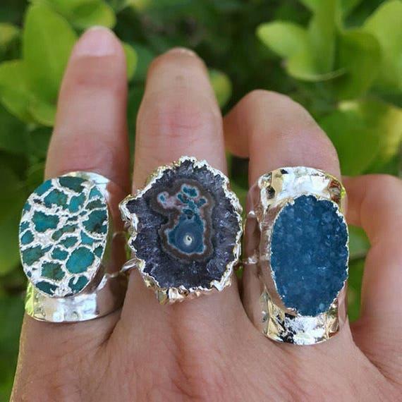 Druzy Quartz Rings, Geode rings, Turquoise rings
