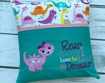 Baby Dinosar Reading Pillow - Kids Reading Pillow - Pocket Pillow - Dinosaur Gift - Birthday Gift - Book Pillow - Dinosaur Birthday - Pillow