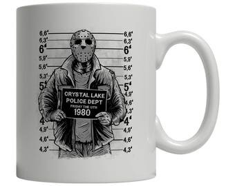 Friday Night Mugshot Coffee Mug Funny Crystal Lake 80's Retro Cult The 13th Horror Geekery Humor Punk Rock Scary Makes A Great Gift