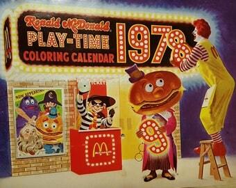 Vintage RONALD McDONALD Play Time Coloring Calendar 1978