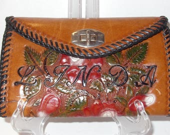 Brown Tooled Leather Clutch Purse has Red Roses Beautiful Lacing and is Monogrammed LINDA