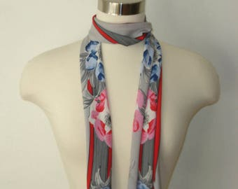 Vintage Long Scarf - Grey, Red and Pink Flower Scarves - Womens Accessories 1970s