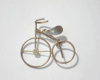 Vintage Bicycle Gold Brooch - Pendant and Pin - 1980's Jewelry