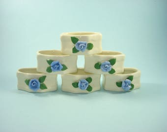 Vintage Ceramic Blue Rose Napkin Rings - Retro White Floral Table Servingware - 1980s - Set of 6