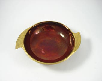 Vintage Carlton Ware Dish - Rouge Royale - Burgundy and Gold Trimmed Shallow Bowl - Retro Decor