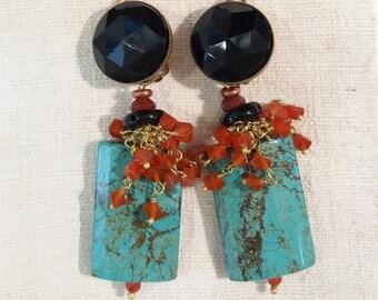 PORTO boucles d'oreilles clips en pierres naturelles