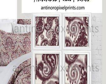 Ikat Paisley Art Burgundy Collage Wall Art Set of (4) 8x10  #590150537 (Unframed)