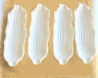 Vintage Stoneware Corn Trays, set of 4 corn on the cob serving dishes, Signature Japan,  white farmhouse style serving dishes