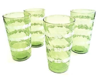 Vintage Lime Green Glasses, summer barware, spring green swirl glassware, 12 fl oz. tumblers, luau beverage set