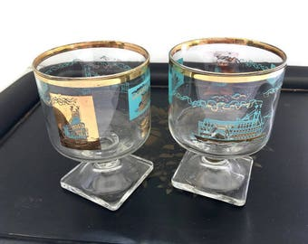 Vintage Libbey Southern Comfort Steamship Glasses, Aqua and Gold Barware 1960's
