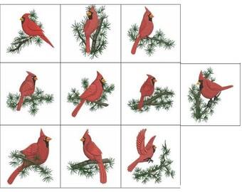 10 Machine Embroidered Cardinal Quilt Blocks