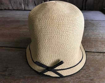 Flapper Cloche Hat, Straw Cloche Hat, Garden Summer Sun Hat