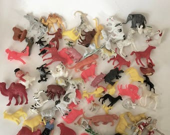 Plastic Farm Animals / Vintage Small Plastic Animals Cows Horses Pigs Sheep and more