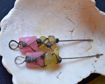 Genuine Rubies and Olive Jade Headpins Soldered and Oxidized. Handmade Charms rustic, Earthy, Organic. Feeriee13 Artisan Jewelry Supply
