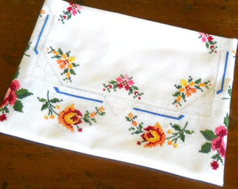 vintage embroidered tablecloth vintage white tablecloth floral tablecloth cross stitch tablecloth gift for her